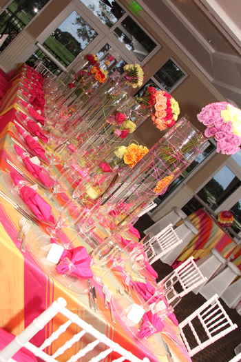 The S Were Seated At Royal Tables Fls An Eclectic Arrangement Of Diffe Size Gl Containers With Colored Wire Intertwined