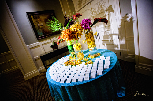 The guests were greeted with a place card table arrangement with multiple