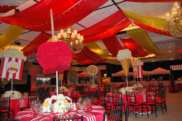 Floral decor linzi events for Circus themed bedroom ideas