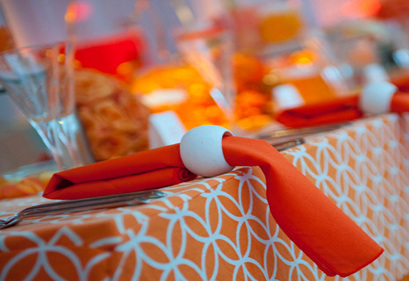 orange napkin white ring